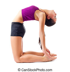 Sporty girl doing gymnastic exercises