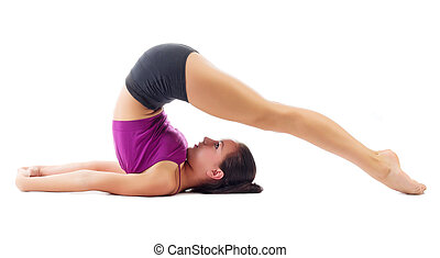 Sporty girl doing gymnastic exercises