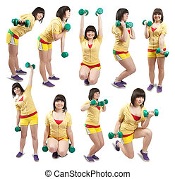 sporty girl exercising with weights - Collage of white...