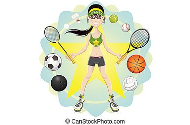 Sporty Girl - Illustration of young woman athlete exercising...