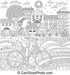 Sporty girl on bike in a city for coloring book