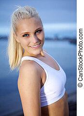Portrait of sporty girl.