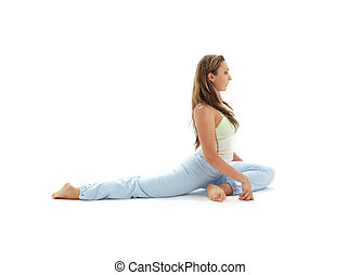 eka pada rajakapotasana one-legged king pigeon pose - sporty...