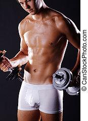 sporty, homem, em, roupa interior