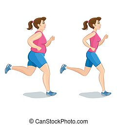 Sporty jogging woman, before and after, loss weight cardio training. Vector illustration.
