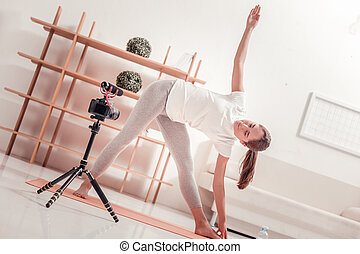 Sporty lady training hard