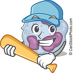 Sporty leukocyte cell cartoon character design with baseball...
