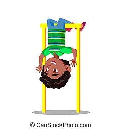 Sporty Little Boy Hanging On Horizontal Bar Upside Down Vector Flat Cartoon Illustration