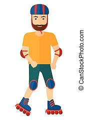 Sporty man on rollerblades. - A sporty man on the...