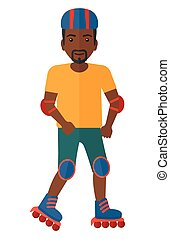 Sporty man on rollerblades. - An african-american man on the...