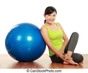 sporty, menina, relaxante