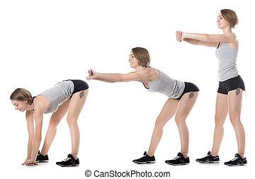 sporty, mulher, fazendo, curvatura, exercícios