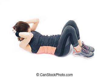 sporty, mulher jovem, fazendo, exercícios abdominais