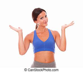Sporty pretty woman raising palms up