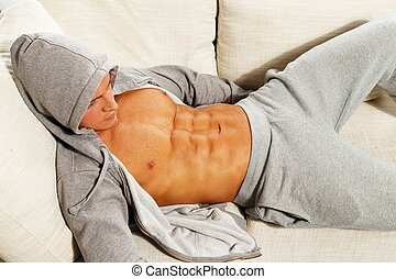 sporty, relaxante, sofá, cinzento, muscular, hoodie, torso, homem