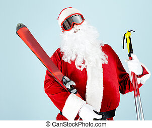 Sporty Santa - Photo of happy Santa Claus with skis looking ...