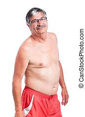 Sporty shirtless senior man