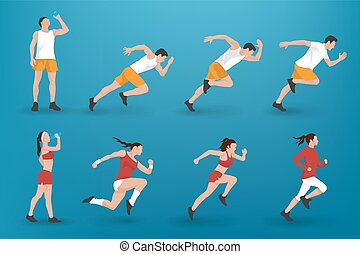 Sporty silhouettes jogging illustration