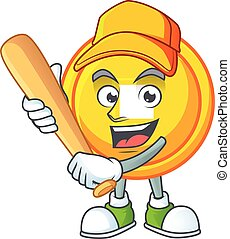 Sporty smiling chinese gold coin cartoon mascot with baseball
