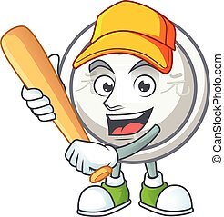 Sporty smiling chinese silver coin cartoon mascot with baseball