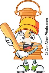 Sporty smiling oil lamp cartoon mascot with baseball