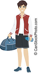 Sporty Teen - Illustration of a Male Teenager Wearing a...
