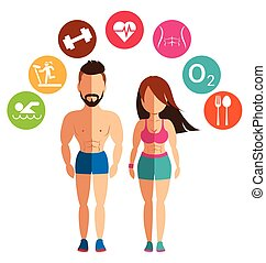 Sporty woman and man for health conscious concept with logo