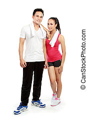 sporty woman and man