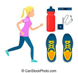 Sporty Woman at Training Process, Colorful Poster - Sporty...