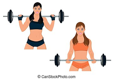 sporty woman exercising with