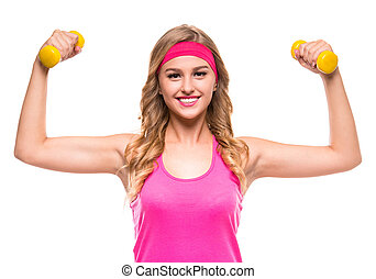 Sporty woman - Happy smiling woman in pink sportswear, doing...