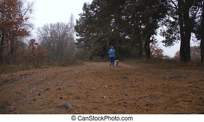 Sporty woman jogging with dog in autumn forest