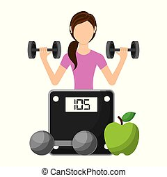 sporty woman lifting a heavy weight barbell with fruit and weight scale