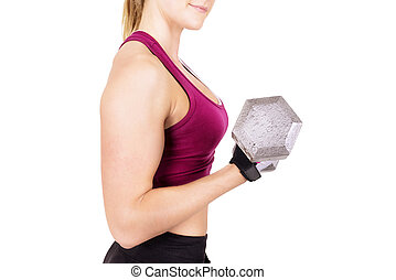Sporty woman lifting dumbbell