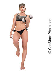 Sporty woman lifting dumbbell, isolated on white background.