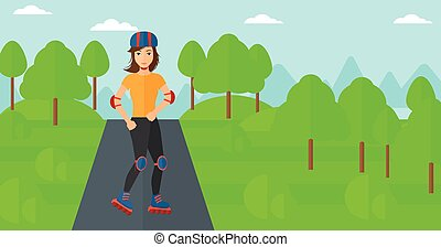 Sporty woman on roller-skates. - A sporty woman on the...