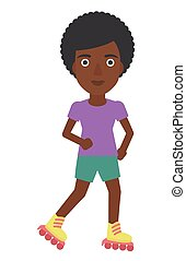Sporty woman on roller-skates. - An african-american sporty...