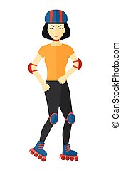 Sporty woman on roller-skates.