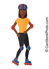 Sporty woman on rollerblades. - A sporty african-american...