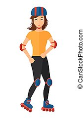 Sporty woman on rollerblades. - A sporty woman on the...