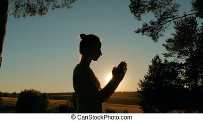Sporty woman practicing yoga in park at sunset - Silhouette...