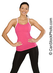 sporty woman - pretty female model smilling on white...
