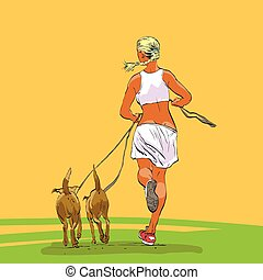 Sporty woman runner with dogs