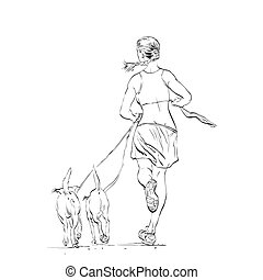 Sporty woman runner with dogs hands drawn vector...