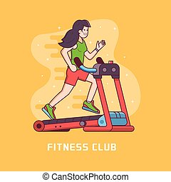 Sporty Woman Running on Treadmill - Athletic fitness girl...