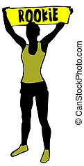Sporty woman silhouette holding a yellow banner sign with ...