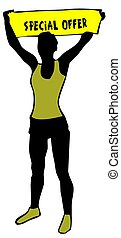 Sporty woman silhouette holding a yellow banner sign with SPECIAL OFFER text.