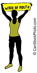 Sporty woman silhouette holding a yellow banner sign with...
