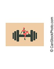 Sporty woman sits on a dumbbell. Short hair girl silhouette