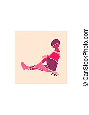 Sporty woman sits on a floor. Short hair girl silhouette....